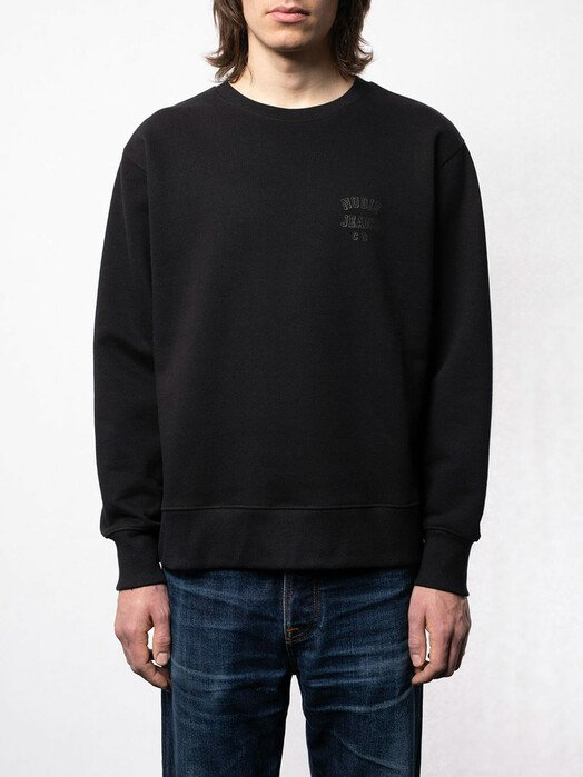 nudie Jeans Sweatshirts Frasse Logo Sweatshirt [black] jetzt im Onlineshop von zündstoff bestellen