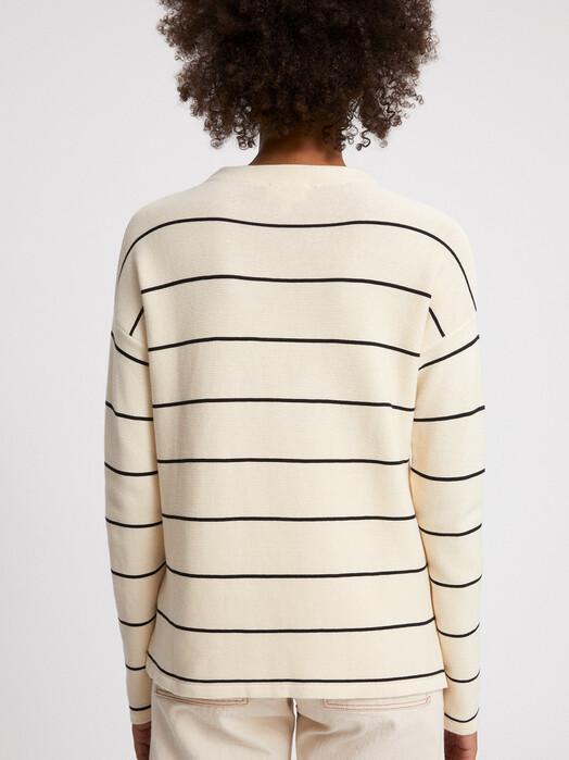 ARMEDANGELS Strickpullover & Cardigans Medinaa Fine Stripes [oatmilk/black] jetzt im Onlineshop von zündstoff bestellen