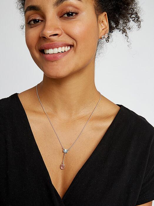 People Tree  Schmuck Double Stone Necklace [rose quartz/blue topaz/silver] One Size jetzt im Onlineshop von zündstoff bestellen
