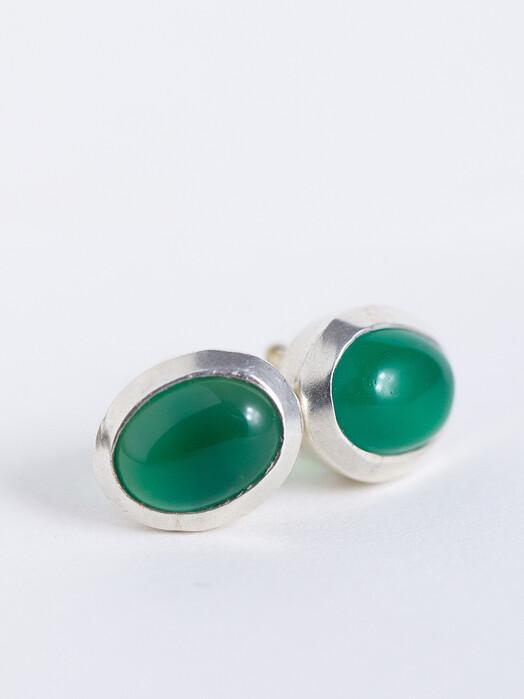 People Tree  Schmuck Oval Stud Earrings [green chalcedony/silver] One Size jetzt im Onlineshop von zündstoff bestellen
