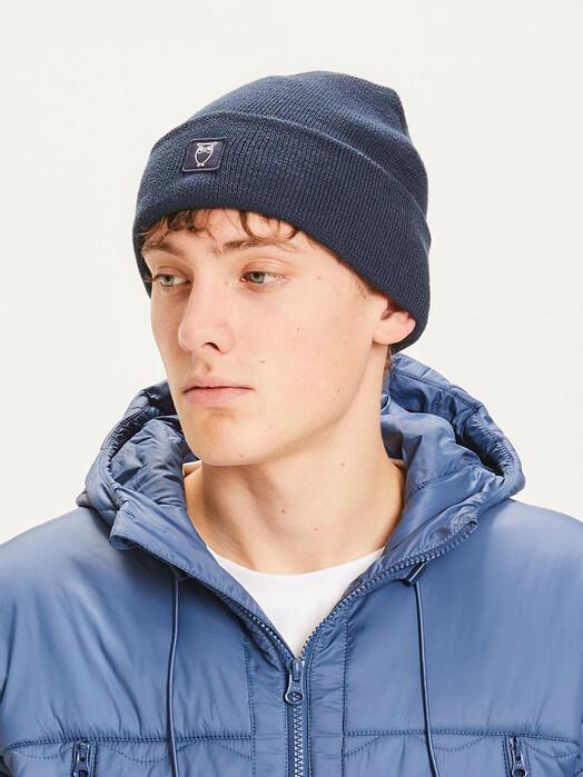 Knowledge Cotton Apparel  Mützen Leaf Rib Hat [total eclipse] One Size jetzt im Onlineshop von zündstoff bestellen