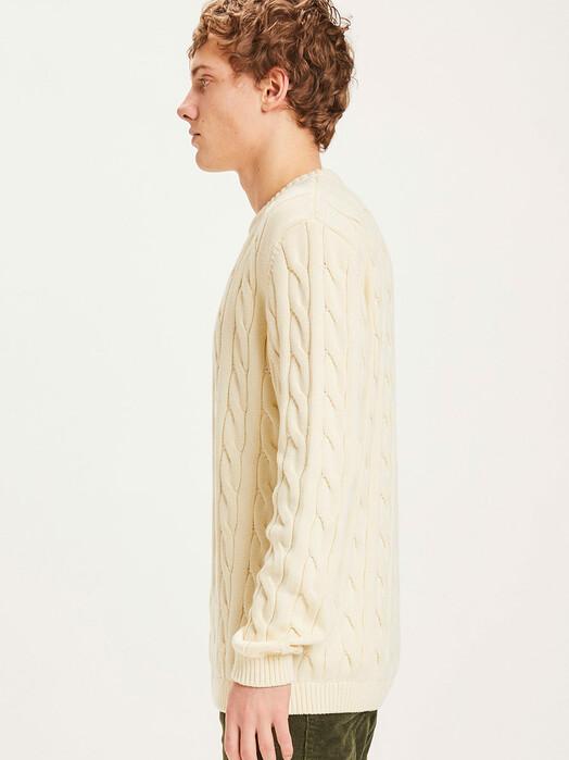 Knowledge Cotton Apparel  Strickpullover Field Cable Knit [winter white] jetzt im Onlineshop von zündstoff bestellen