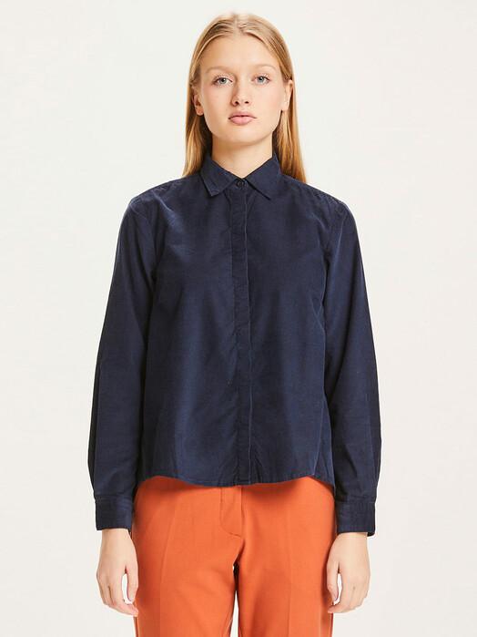 Knowledge Cotton Apparel  Blusen Jacinta Baby Cord Shirt [total eclipse] jetzt im Onlineshop von zündstoff bestellen