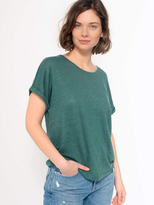 Kuyichi  T-Shirts Bella Linen Tee [emerald] XS jetzt im Onlineshop von zündstoff bestellen