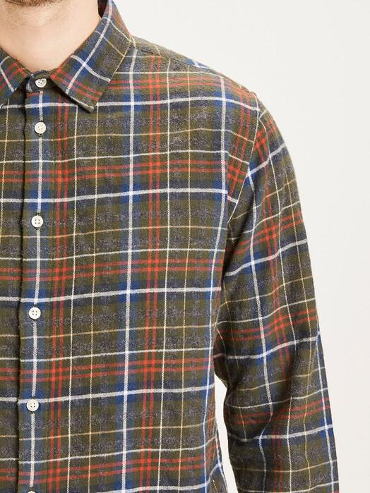 Knowledge Cotton Apparel  Hemden & Polos Larch Small Checked Flannel Shirt [forrest night] jetzt im Onlineshop von zündstoff bestellen