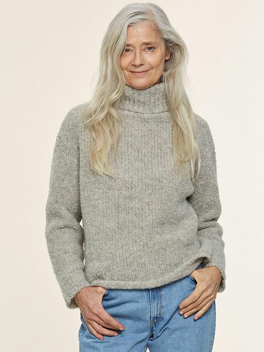 Les Racines du Ciel Strickpullover & Cardigans Ria Collar Sweater [light grey] jetzt im Onlineshop von zündstoff bestellen