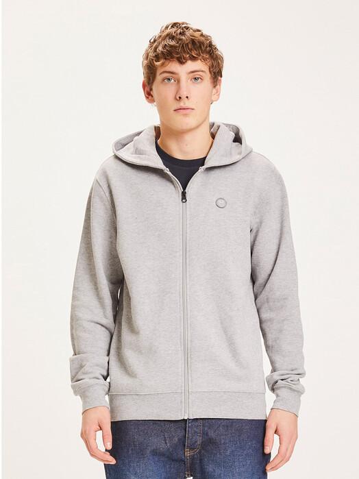 Knowledge Cotton Apparel  Hoodies Elm Badge Zip-Hoodie [grey melange] jetzt im Onlineshop von zündstoff bestellen