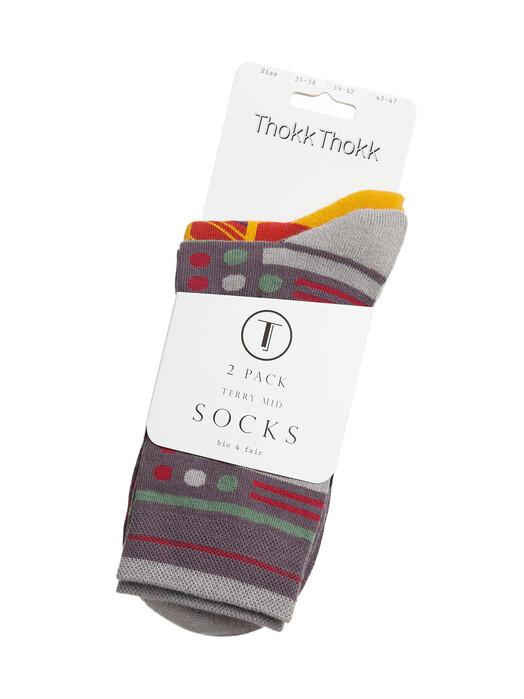ThokkThokk  Socken  2-Pack Terry Mid Socks [brick red/dark grey] 35-38 jetzt im Onlineshop von zündstoff bestellen