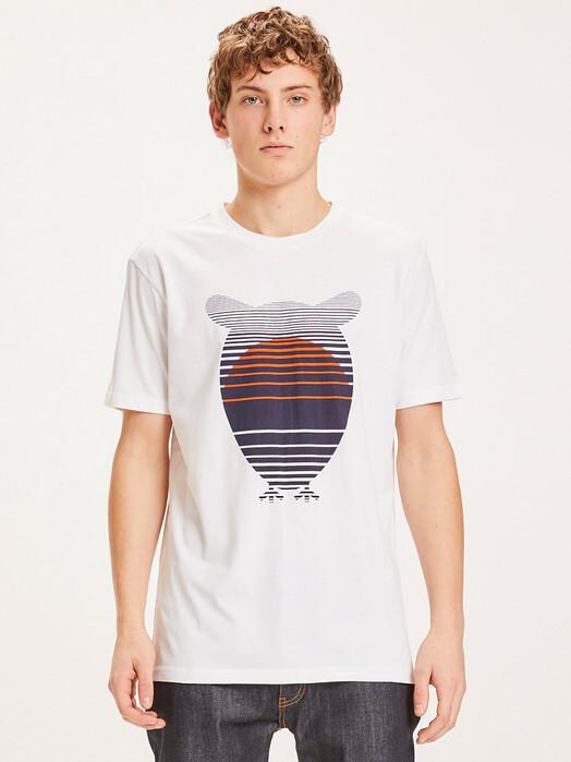 Knowledge Cotton Apparel  T-Shirts Alder Owl Sunset Tee [bright white] jetzt im Onlineshop von zündstoff bestellen