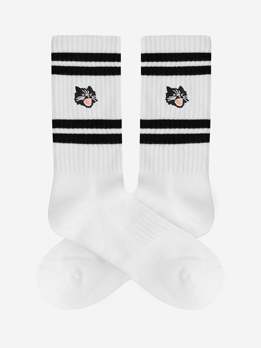 A-dam Underwear Socken  Crew Socks Kitty Cat [white/black] jetzt im Onlineshop von zündstoff bestellen