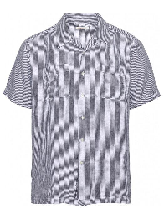 Knowledge Cotton Apparel  Hemden & Polos Wave Short Striped Shirt [total eclipse] jetzt im Onlineshop von zündstoff bestellen