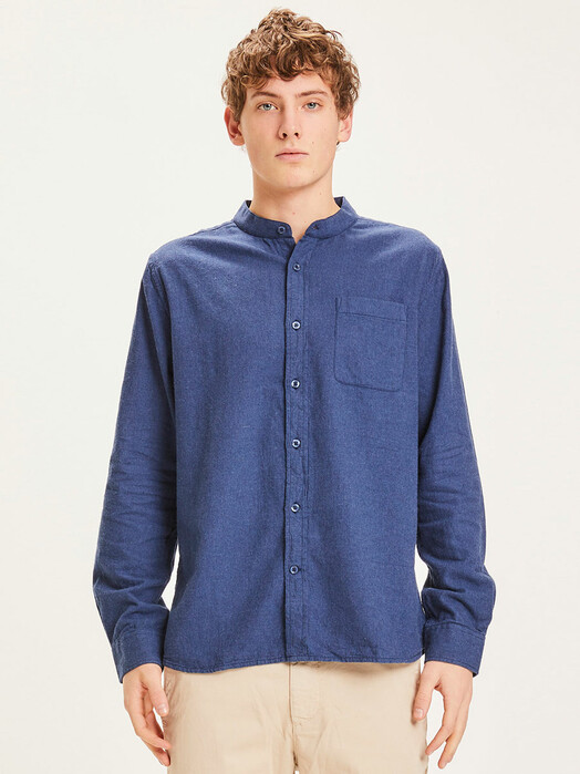 Knowledge Cotton Apparel  Hemden & Polos Elder Flannel Stand Collar Shirt [estate blue] jetzt im Onlineshop von zündstoff bestellen