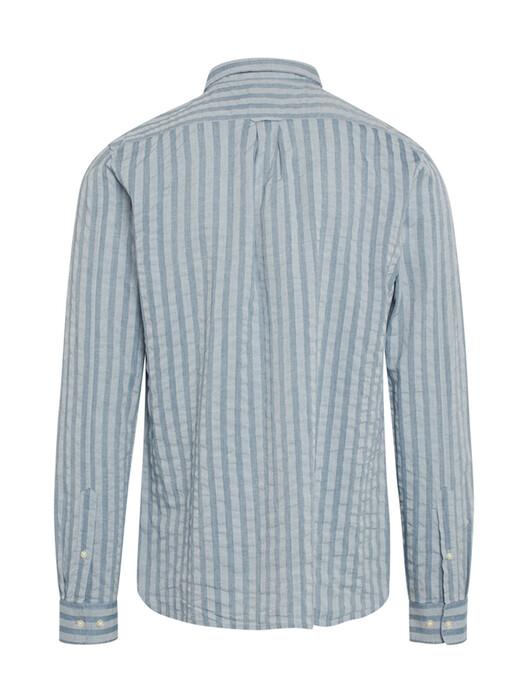 Knowledge Cotton Apparel  Hemden & Polos Elder Vertical Striped Shirt [dark denim] M jetzt im Onlineshop von zündstoff bestellen