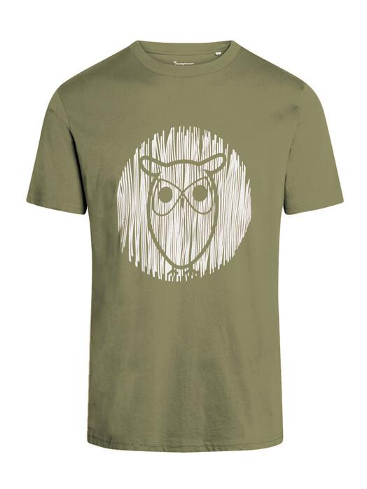 Knowledge Cotton Apparel  T-Shirts Alder Outline Owl Tee [sage light dusty green] S jetzt im Onlineshop von zündstoff bestellen
