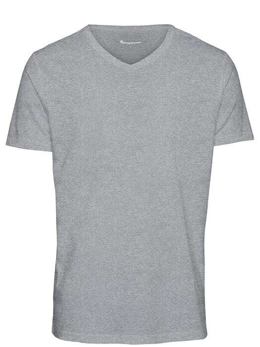 Knowledge Cotton Apparel  T-Shirts Alder Basic V-Neck Tee [grey melange] jetzt im Onlineshop von zündstoff bestellen