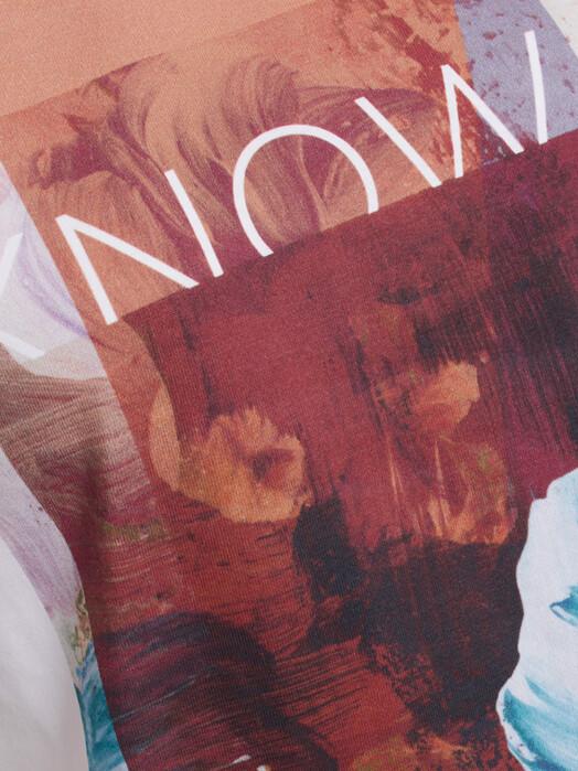 Knowledge Cotton Apparel  T-Shirts Violet Collage Print [bright white] jetzt im Onlineshop von zündstoff bestellen