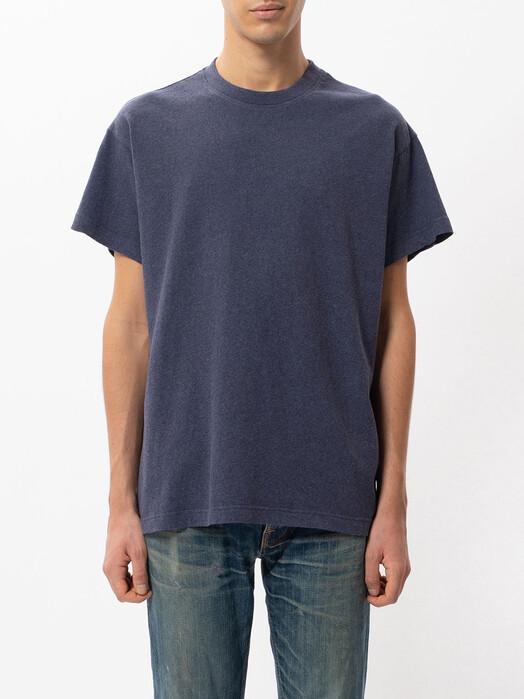 nudie Jeans T-Shirts Milton Recycled Tee [blue melange] L jetzt im Onlineshop von zündstoff bestellen