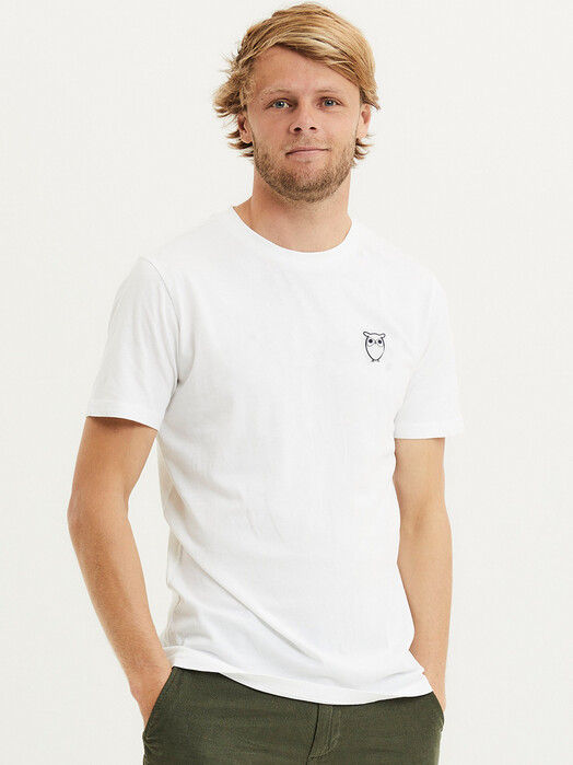 Knowledge Cotton Apparel  T-Shirts Alder Owl Chest Tee [bright white] jetzt im Onlineshop von zündstoff bestellen