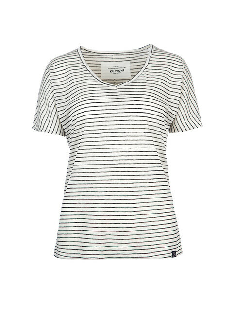 Kuyichi Jeans T-Shirt Bailee Striped [cloud dancer]