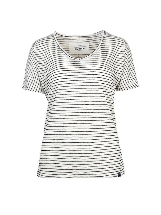 Kuyichi  T-Shirts Bailee Striped [cloud dancer] jetzt im Onlineshop von zündstoff bestellen