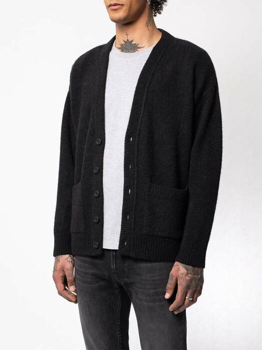 nudie Jeans Strickpullover Manne Alpaca Cardigan [black] jetzt im Onlineshop von zündstoff bestellen
