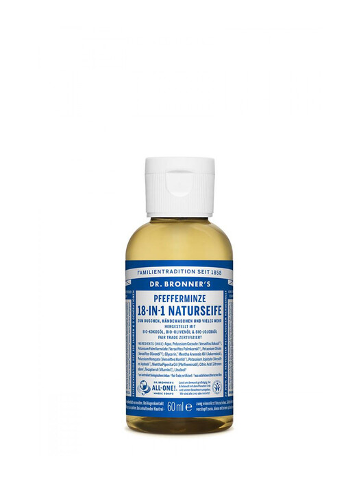 Dr. Bronner's Kosmetik Liquid Soap Pfefferminze 60ml jetzt im Onlineshop von zündstoff bestellen