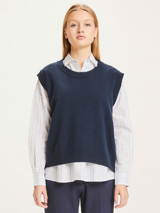 Knowledge Cotton Apparel  Strickpullover & Cardigans Myrthe Lambswool Vest [total eclipse] jetzt im Onlineshop von zündstoff bestellen