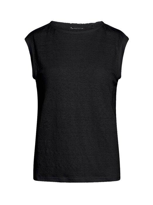 Knowledge Cotton Apparel  T-Shirts Violet Loose Linen Tee [black jet] jetzt im Onlineshop von zündstoff bestellen