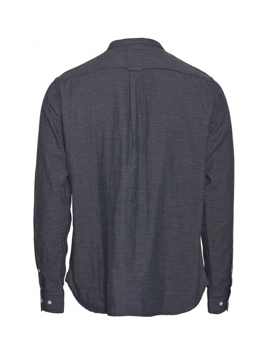 Knowledge Cotton Apparel  Hemden & Polos Larch LS Striped Stand Collar Shirt [total eclipse] M jetzt im Onlineshop von zündstoff bestellen