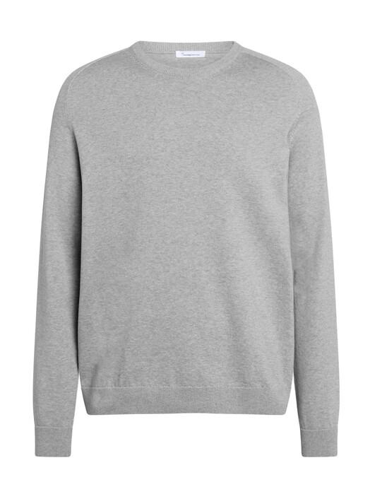 Knowledge Cotton Apparel  Strickpullover Field O-Neck Long Stable Knit [grey melange] jetzt im Onlineshop von zündstoff bestellen