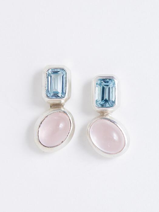 People Tree  Schmuck Double Stone Earrings [rose quartz/blue topaz/silver] One Size jetzt im Onlineshop von zündstoff bestellen