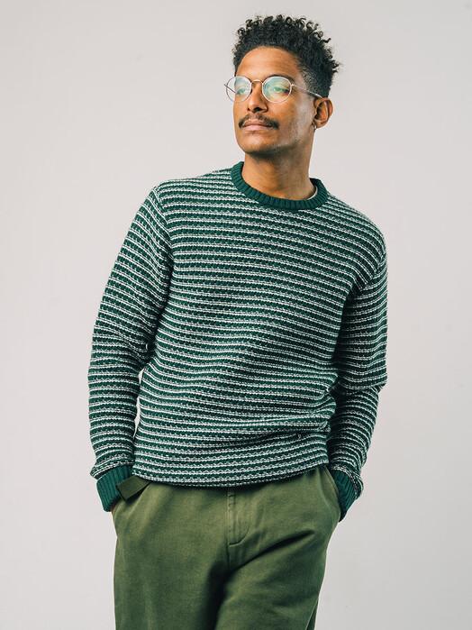 Brava Fabrics Strickpullover Stripes Sweater [dark green] jetzt im Onlineshop von zündstoff bestellen