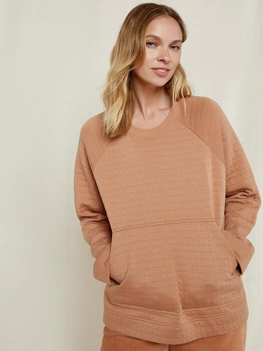 People Tree  Sweatshirts Zenia Quilted Top [camel] jetzt im Onlineshop von zündstoff bestellen
