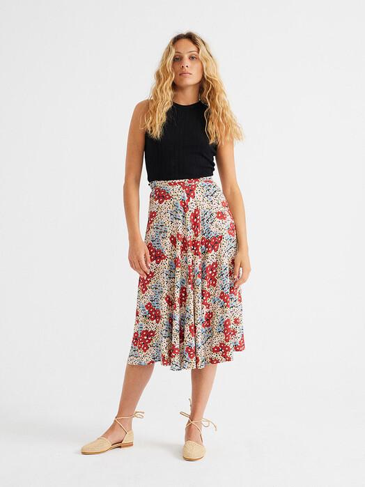 Thinking MU Röcke Small Flowers Lavanda Skirt [multicolor] L jetzt im Onlineshop von zündstoff bestellen