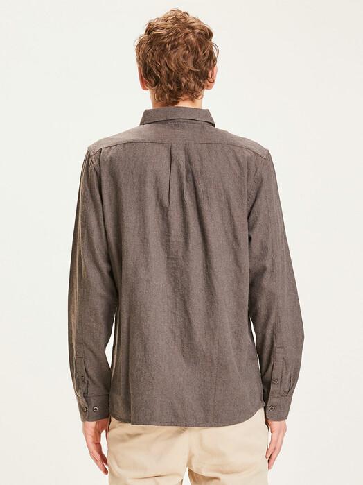 Knowledge Cotton Apparel  Hemden & Polos Elder Melange Flannel Shirt [dark earth] jetzt im Onlineshop von zündstoff bestellen