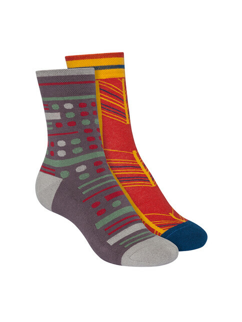 ThokkThokk  2-Pack Terry Mid Socks [brick red/dark grey]