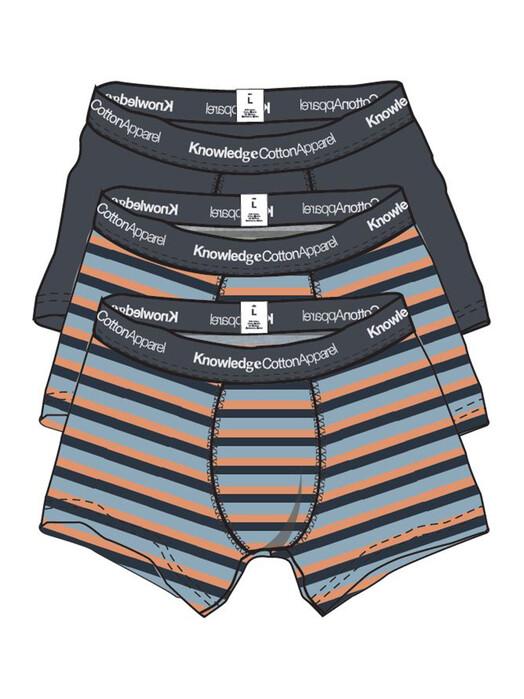 Knowledge Cotton Apparel  Unterwäsche  Maple 3 Pack Block Striped [asley blue] S jetzt im Onlineshop von zündstoff bestellen