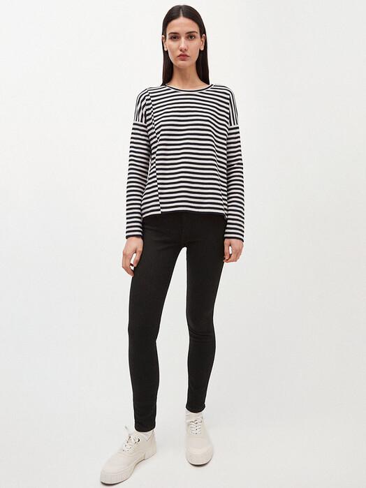 ARMEDANGELS Longsleeves Palinaa Knitted Stripe [kitt/black] jetzt im Onlineshop von zündstoff bestellen