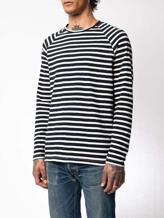 nudie Jeans Longsleeves Otto Breton Stripe [navy/eggwhite] jetzt im Onlineshop von zündstoff bestellen