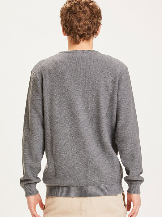 Knowledge Cotton Apparel  Strickpullover Field Pique Badge Knit [dark grey melange] jetzt im Onlineshop von zündstoff bestellen