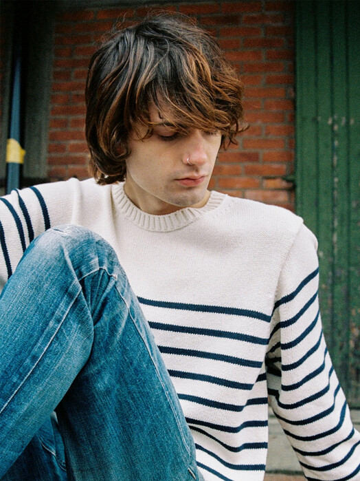 nudie Jeans Strickpullover Hampus Recycled Stripe [offwhite/navy] jetzt im Onlineshop von zündstoff bestellen