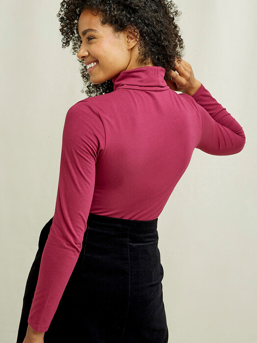 People Tree  Longsleeves Laila Roll Neck Top [pink] M jetzt im Onlineshop von zündstoff bestellen