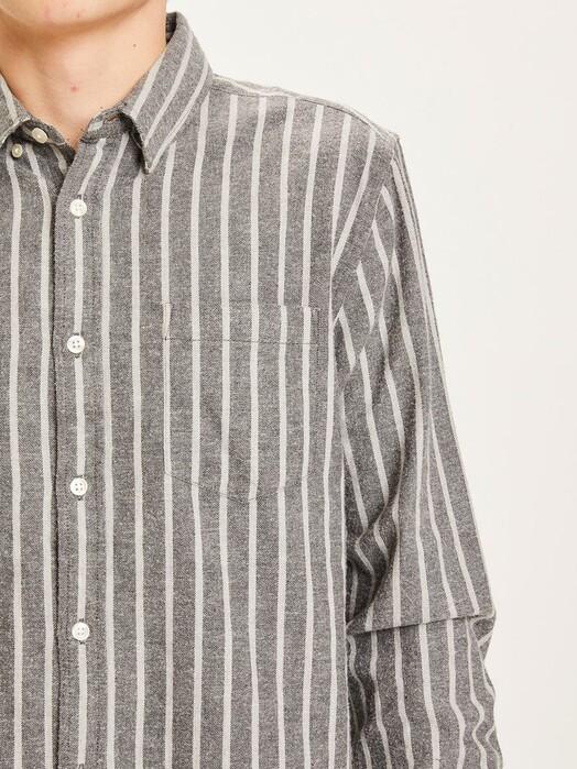 Knowledge Cotton Apparel  Hemden & Polos Larch Striped Flannel Shirt [dark grey melange] jetzt im Onlineshop von zündstoff bestellen