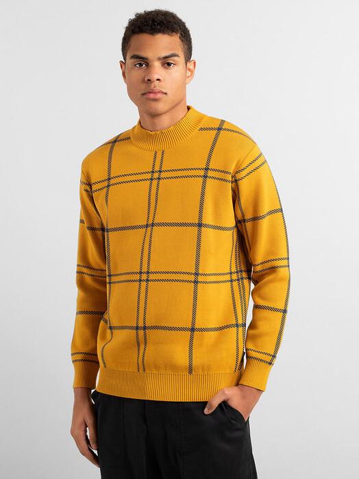 Dedicated Strickpullover Trysil Big Check [golden yellow] XL jetzt im Onlineshop von zündstoff bestellen