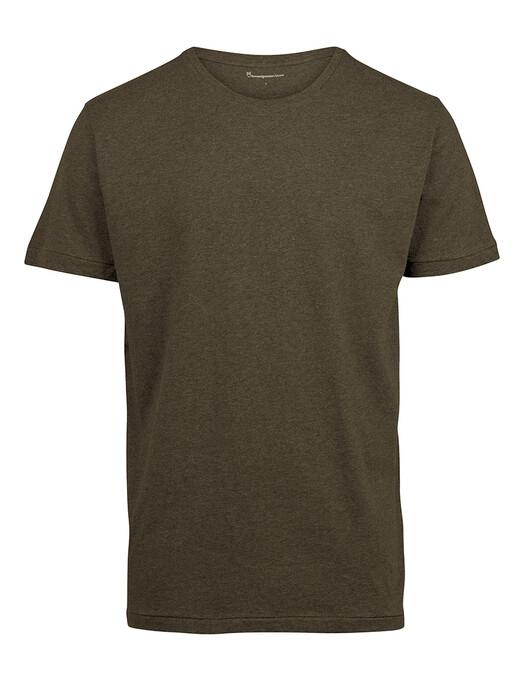 Knowledge Cotton Apparel  T-Shirts Alder Basic Tee [green melange] jetzt im Onlineshop von zündstoff bestellen