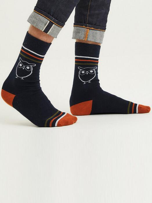 Knowledge Cotton Apparel  Socken  Timber 2-Pack Owl Socks [total Eclipse] jetzt im Onlineshop von zündstoff bestellen