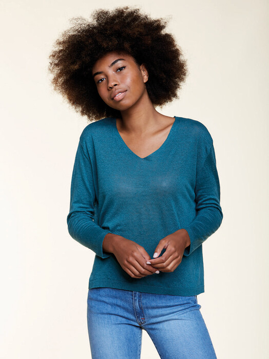 Les Racines du Ciel Strickpullover & Cardigans Jersey V-Neck Sweater [petrol] S jetzt im Onlineshop von zündstoff bestellen
