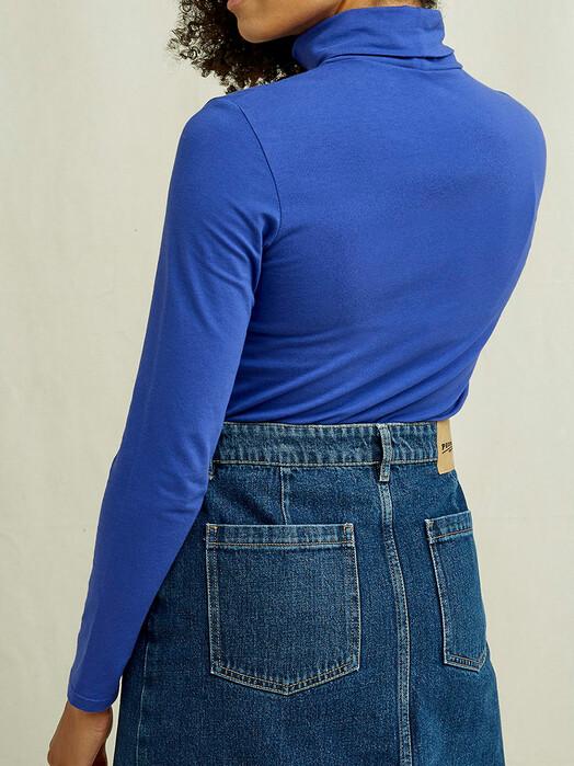 People Tree  Longsleeves Laila Roll Neck Top [blue] jetzt im Onlineshop von zündstoff bestellen