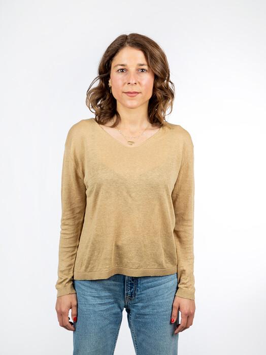 Les Racines du Ciel Strickpullover & Cardigans Jersey V-Neck Sweater [beige] jetzt im Onlineshop von zündstoff bestellen
