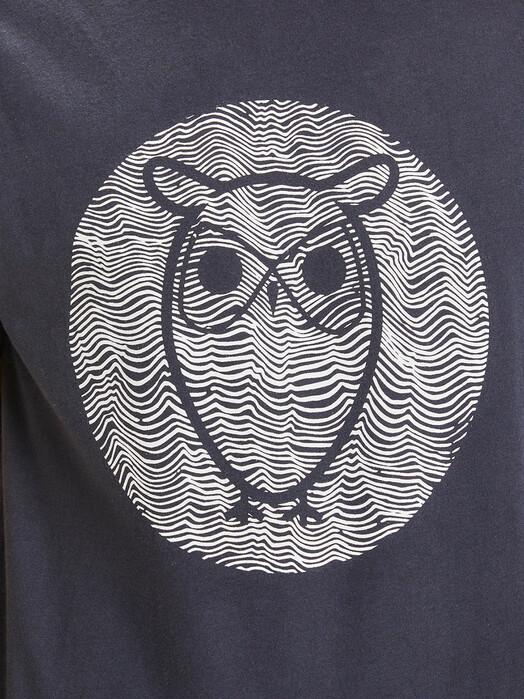 Knowledge Cotton Apparel  T-Shirts Alder Big Owl Lined Tee [total eclipse] jetzt im Onlineshop von zündstoff bestellen
